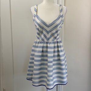 Line & Dot blue stripe nautical skater dress